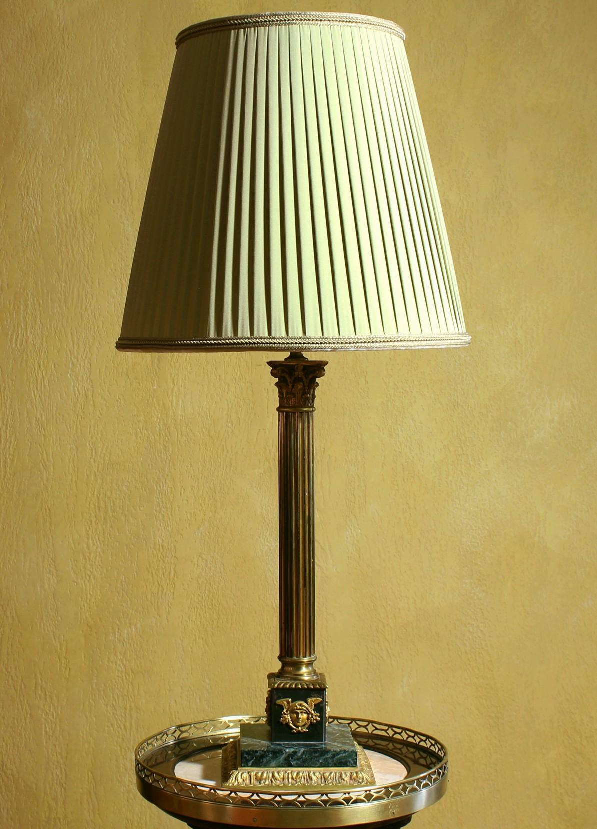 Антикварная настольная лампа Бронза Мрамор
