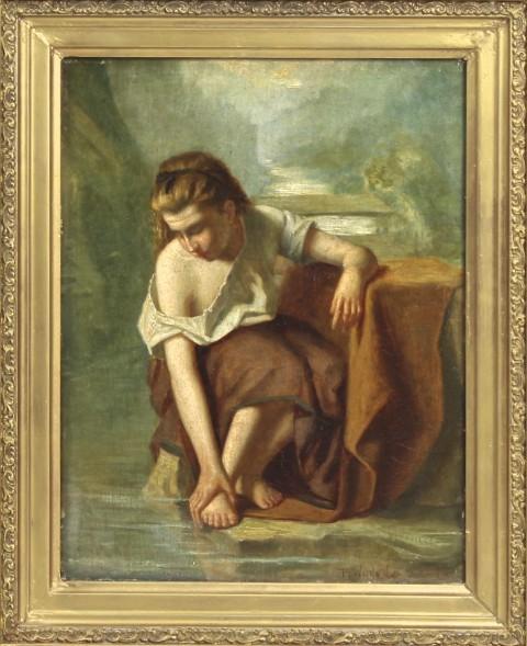 """Старинная картина """"Девушка у ручья"""""""