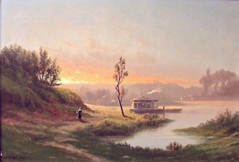 Живописный пейзаж. Барбизон. C.Lenglet 19 век