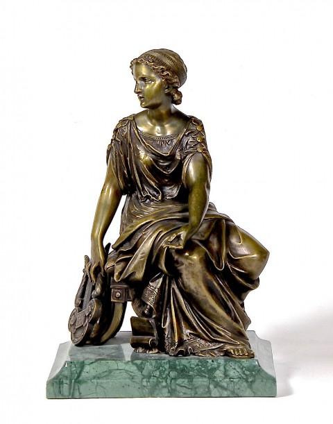 """Антикварная скульптура """"Девушка с лирой"""" Бронза 19 век"""