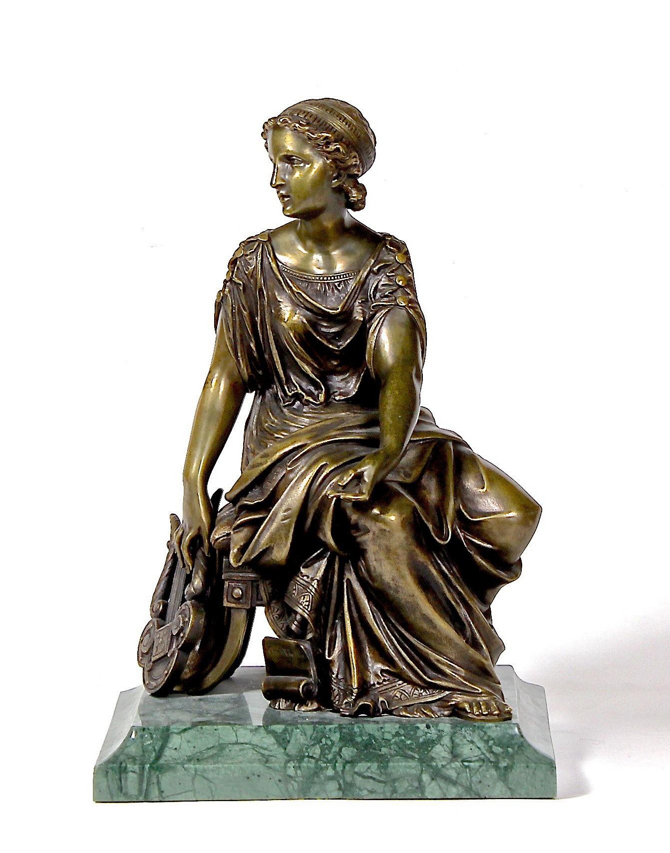 """Скульптура """"Девушка с лирой"""" Бронза 19 век"""