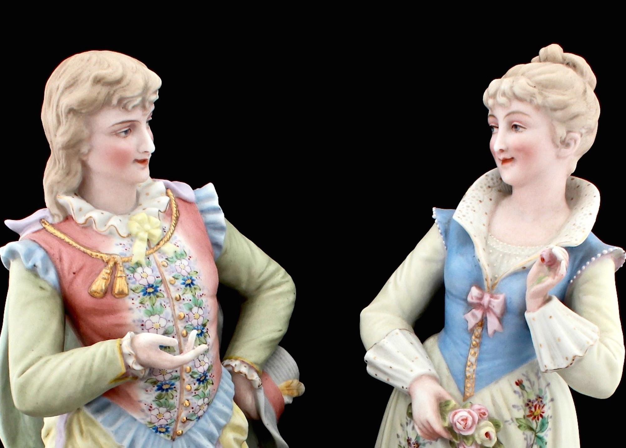 Парные старинные скульптуры. Полихромный бисквит.