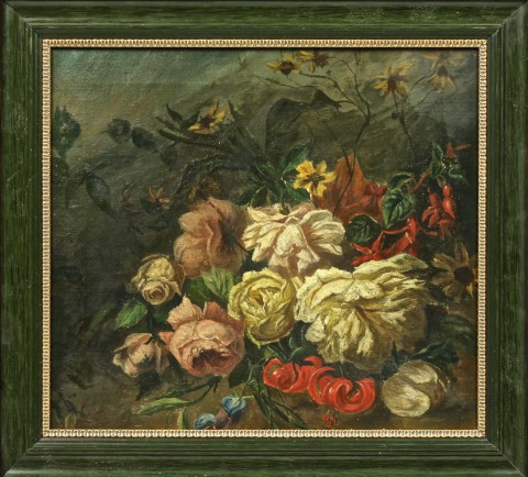 Антикварный натюрморт Цветы