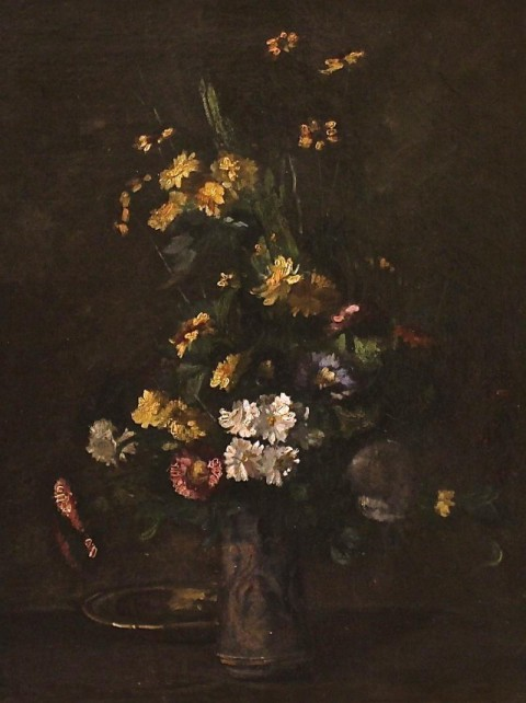 Натюрморт в золоченой раме. Ежен Пети. Франция,1860 год