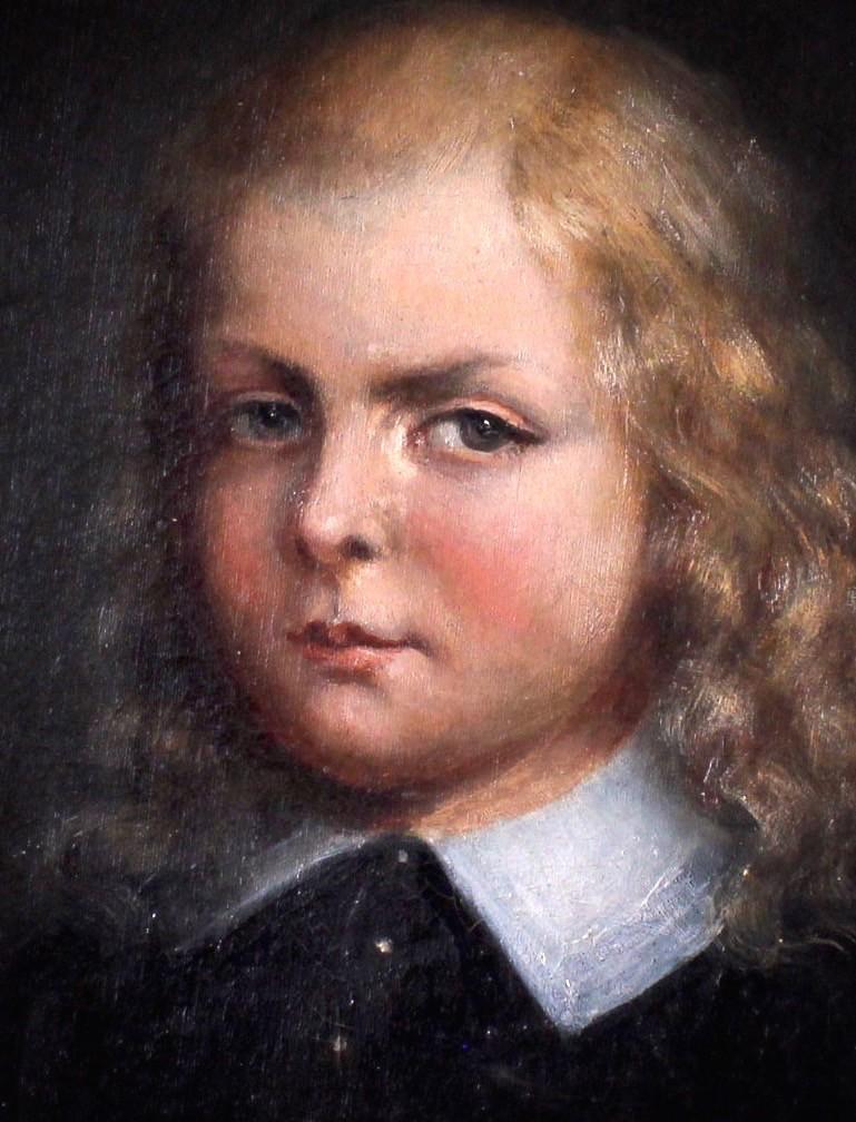Старинный портрет юного мальчика.