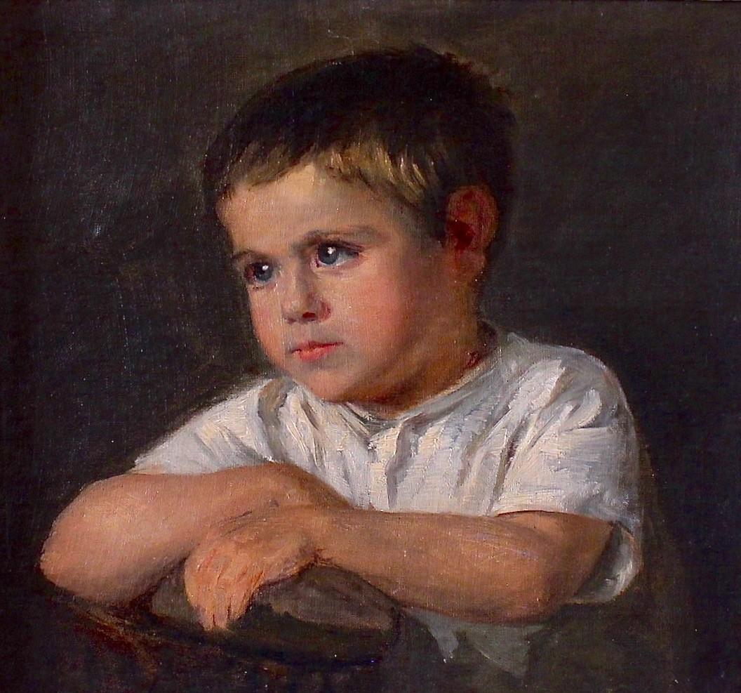 Антикварная картина. Портрет юного мальчика