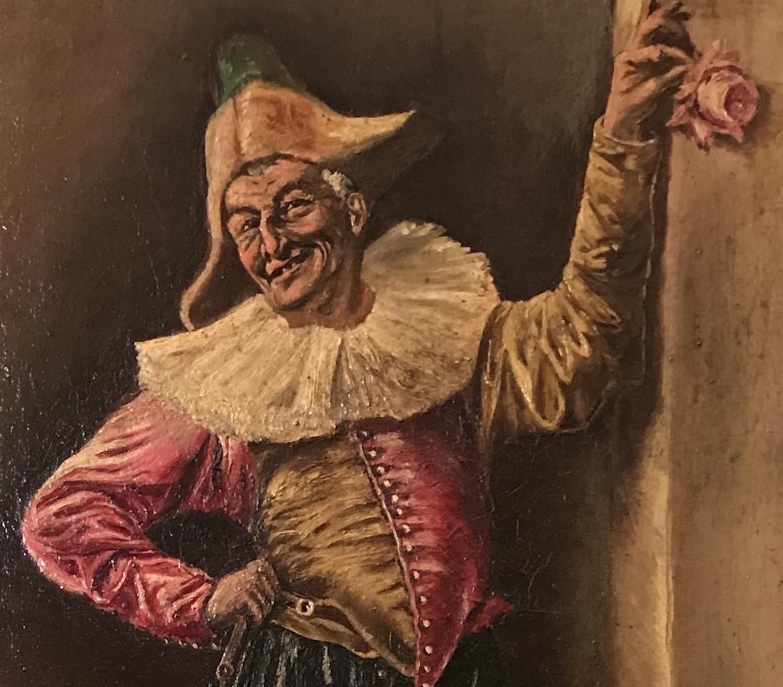Антикварный жанровый портрет клоуна