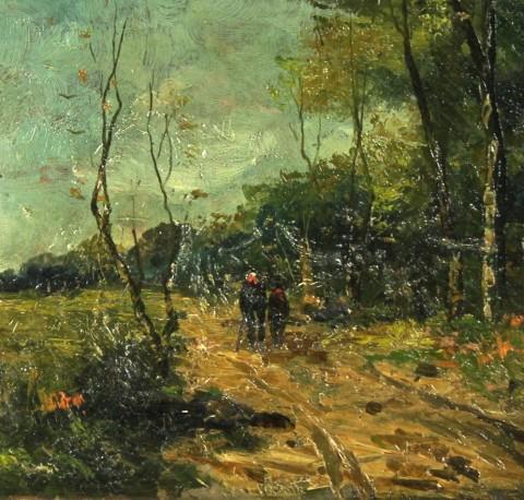 Антикварная картина «Прогулка в осеннем лесу»