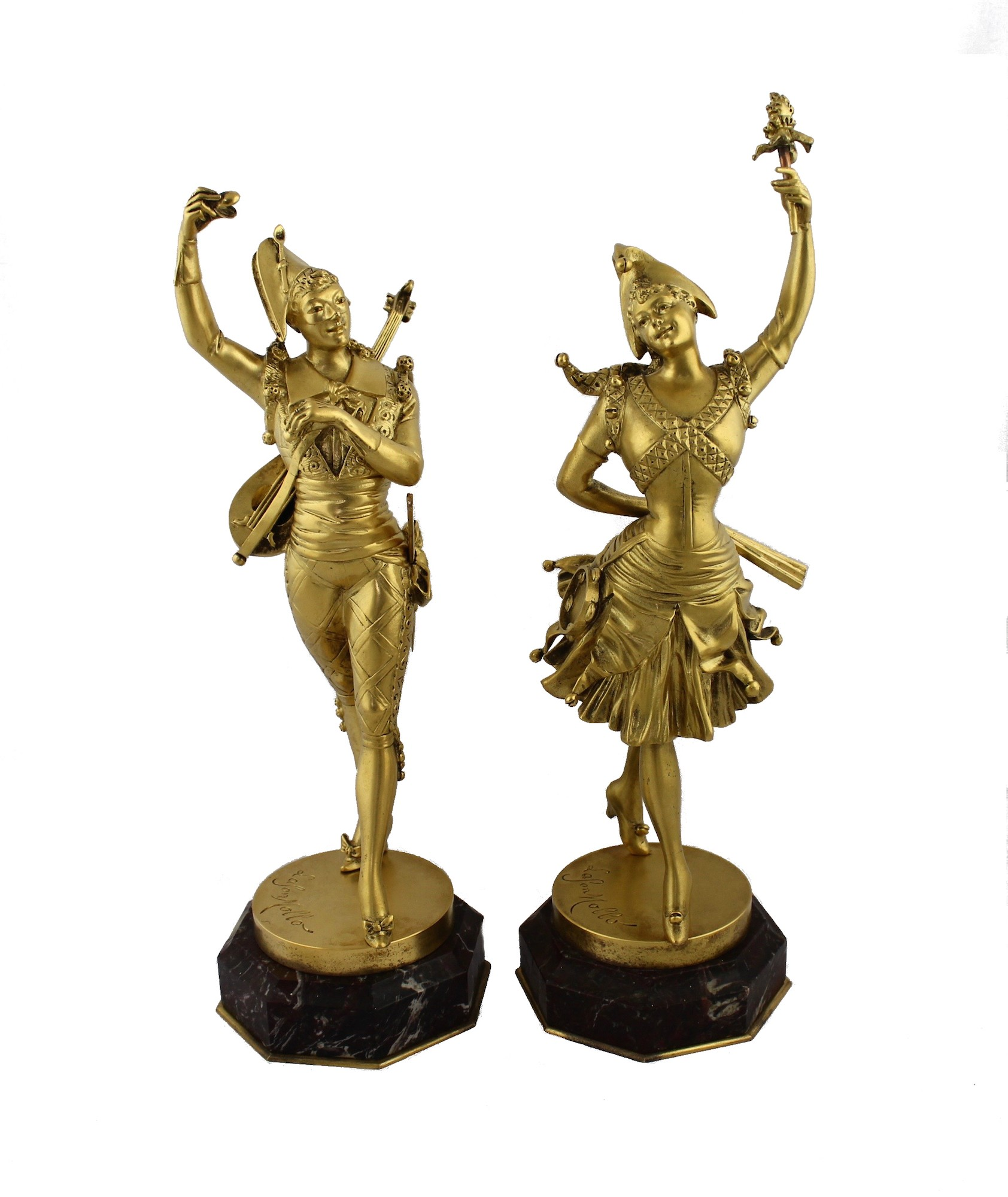 Парные бронзовые скульптуры Арлекин и Коломбина