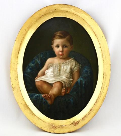 Фарфоровый пласт в раме. Детский портрет.