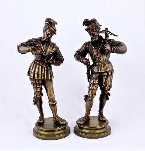Старинные парные статуэтки солдат. Баталия.