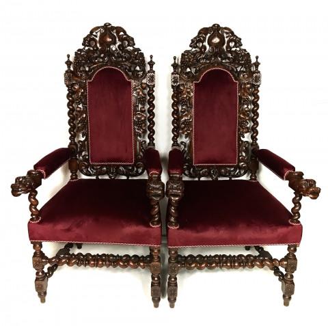 Парные резные троны