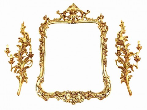 Настенный резной гарнитур. Зеркало и два бра.